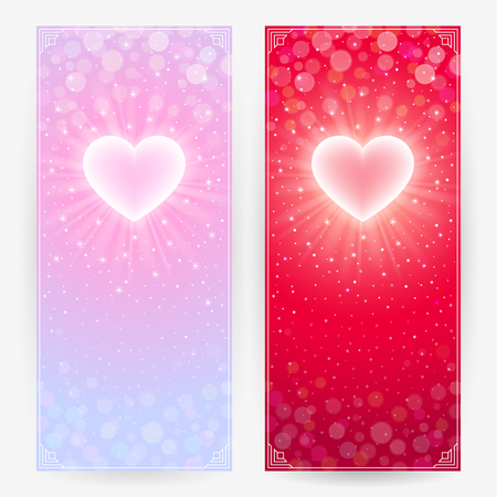 Two festive backgrounds in light pink and bright red colors with lighting hearts. Vertical banners