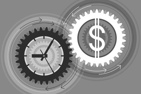 Gear with clock face as symbol of time and gear with dollar sign as symbol of money near to each other. Interaction and interdependence of time and money. Concept of successful business