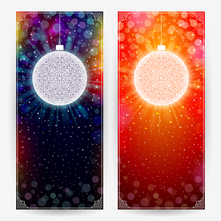Two festive backgrounds in deep dark and bright red colors with decorative balls. Vertical banners Иллюстрация