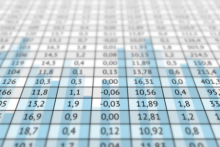 Large table with a lot of numerical data and statistic graph. Business information, analysis of data and different indicators