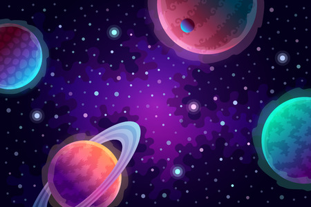 Various planets and stars. Universe and space travel