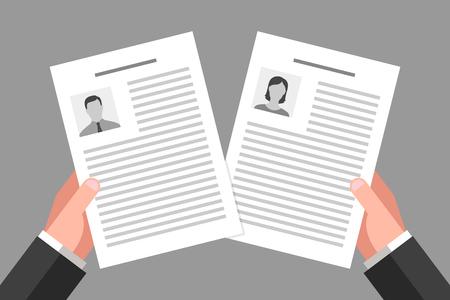 Lebenslauf von Frau und Mann in den Händen des Arbeitgebers. Beschäftigung, Arbeitsvermittlung und Arbeitnehmerrechte