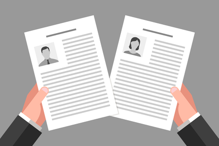 Resume of woman and man in the hands of employer. Employment, job placement and labor rights Illustration