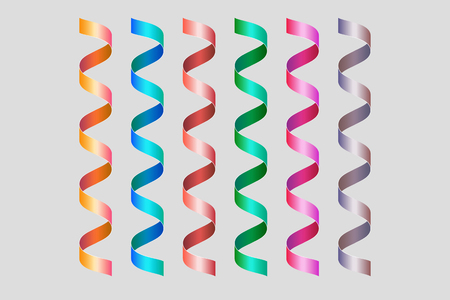 Twisted spiral colored ribbons. Decoration elements