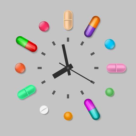 Tablets are near the clock. Scheduled time of medicines intake Illustration