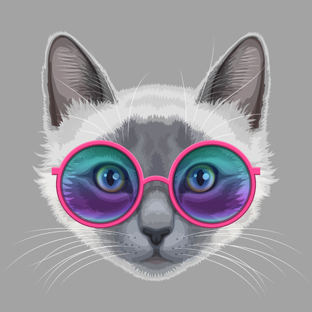 Drawn stylized of white-gray cat with stylish glamor eyeglasses