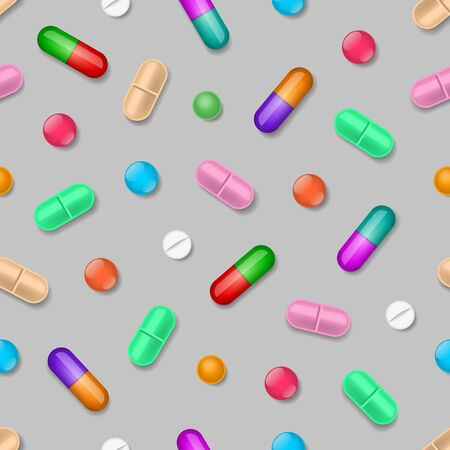 Medical seamless pattern with colored tablets and pills