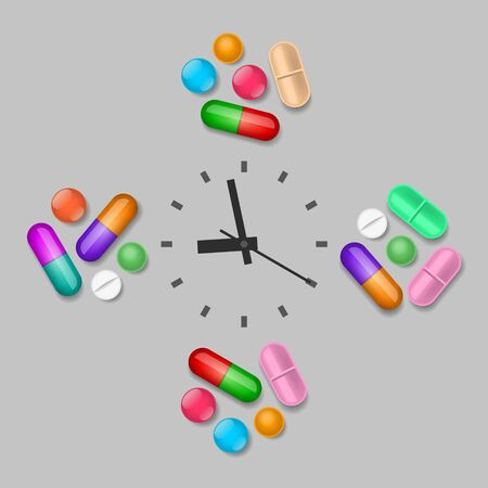 Groups of pills are near the clock. Scheduled time of medicines intake