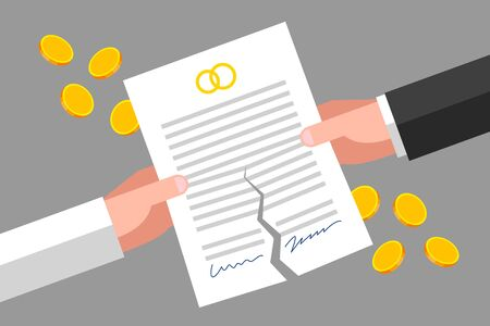Torn prenuptial agreement is in mans and womans hands, gold coins around. Family, divorcement and law