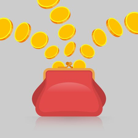 Gold coins from different sources are falling into red purse. Savings and benefits concept Иллюстрация