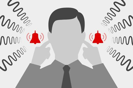Man is  covering his ears with hands and suffering from tinnitus