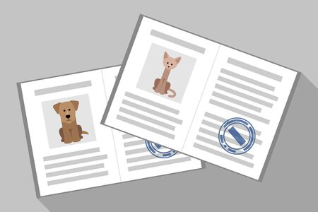 Cat and dog passport with veterinarian stamps. Pet documents