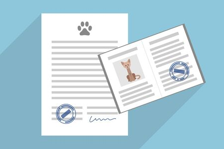 Signed pet adoption or sale agreement, and pet passport with cat photo inside Иллюстрация
