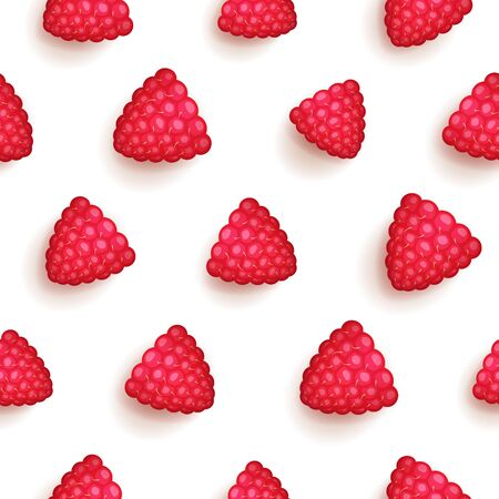 Seamless pattern with ripe raspberries, bright red colored and juicy, organic and diet background Фото со стока