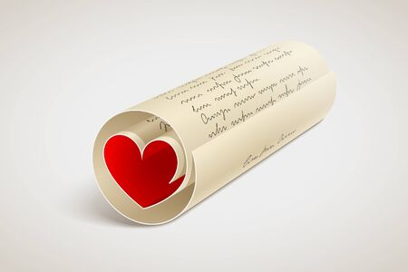 Paper letter rolled and with red heart inside. Love message. Romantic letter for beloved person or declaration of love. Relationships concept Фото со стока