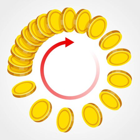 Gold coins are flying in a cycle, red arrow is nearby as symbol of endless process of making money, circulation, movement of money, over gray background. Successful business and income concept
