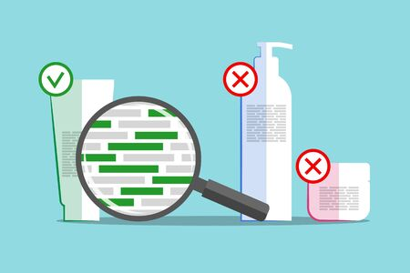 Different cosmetics and magnifier above info about chemical composition. Green blocks are symbolizing dangerous and harmful ingredients. Products with good and bad formula details