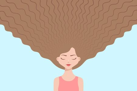 Cute girl with eyes closed and with long loose fair hair flowing upwards. Concept of hair care, healthy hair and beauty trends