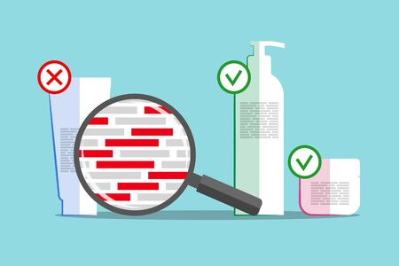 Different cosmetics and magnifier above info about chemical composition. Red blocks are symbolizing dangerous and harmful ingredients. Products with good and bad formula details