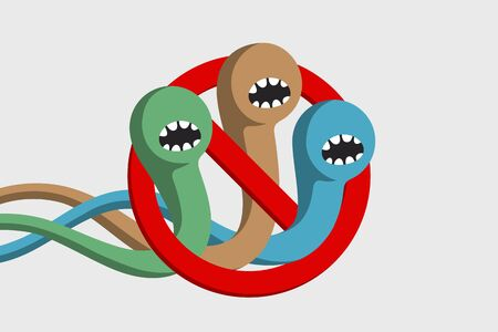 Colored aggressive and angry worms are baring teeth and trying to crawl through red prohibition sign. Treatment of helminth infection. Anthelmintic medicine. Healthcare concept