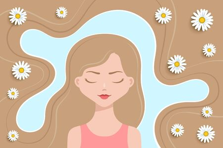Girl with eyes closed, and thick blond hairs around her. Camomiles are in hairs. Herbal hair treatment and care. Concept of health and beauty trends