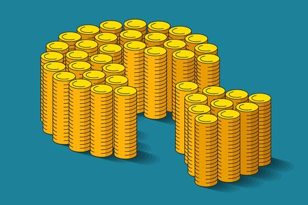 Many piles of gold coins are standing side by side and shaping money pie and cut-out part near. Concept of tax payments, loan payments, shareholding income or donating