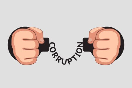 """Geballte Fäuste werden mit Handschellen gefesselt. Das Wort """"Korruption"""" statt Kette. Korruption führt zu Festnahmen und rechtlichen Bestrafungen. Illegalität von Bestechung und Finanzkriminalität. Begriff von Gesetzen und Legalität"""