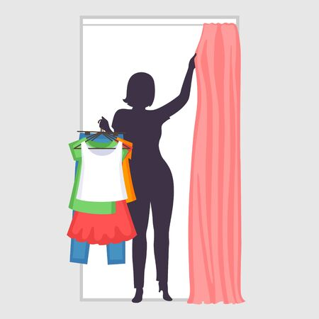 Woman is holding many different clothes on hangers in one hand and pulling curtain in fitting room with another hand. Plus size female silhouette. Modern shopping and difficulties of choices