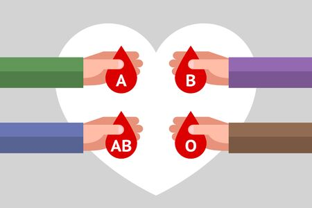 Four hands are holding red drops with letters inside as symbols of blood types, over gray background with white heart symbol. Concept of blood type and blood donation. Be donor is save life