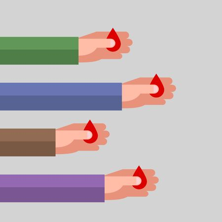Four hands are holding red drops as symbols of blood, over gray background. Concept of blood type and blood donation. Hematology and healthcare.