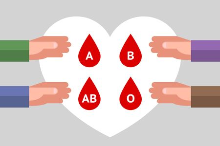 Four hands are reachIng for red drops with letters inside as symbols of blood types, over gray background with white heart symbol. Concept of blood type and blood donation. Donorship is saving life