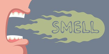Open mouth of screaming person having bad breath, green cloud of unpleasant disgusted smell moving forward, over gray background. Concept of personal hygiene problem or oral disease