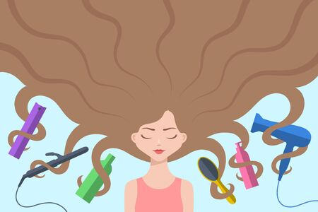 Cute girl with eyes closed and with long loose brown hair flowing around. Different hair care accessories are nearby and intertwined by curls. Concept of haircare, healthy hair and beauty treatments