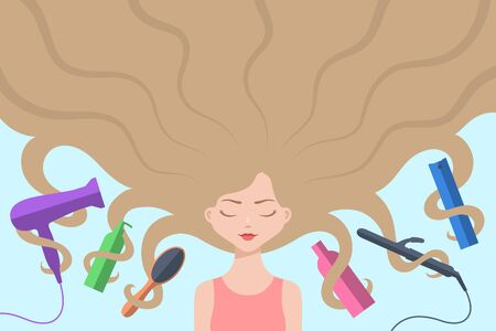 Cute girl with eyes closed and with long loose blond hair flowing around. Different hair care accessories are nearby and intertwined by curls. Concept of haircare, healthy hair and beauty treatments 일러스트