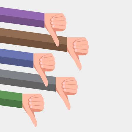 Hands of dissatisfied users or clients with thumb down gestures. Dislikes in social media and bad feedback from followers. Concept of unsuccessful business or low quality rating of item or services