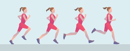 Four different positions of running girl. Stylized simplistic female figures. Concept of healthy lifestyle, sports, physical activity and training of cardiovascular system Vettoriali