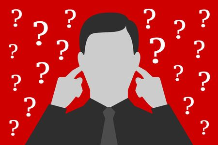 Man is covering ears with hands, not wanting to listen asked questions and resolve problems, being tired and overworked, having stress, over depressive red background. Concept of ignoring of problems