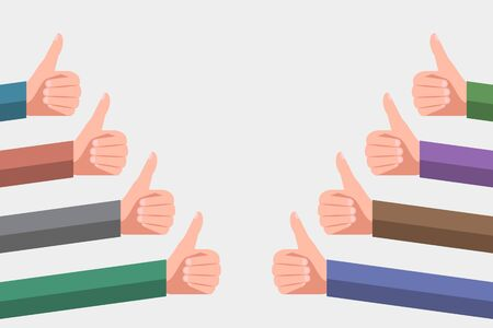 Hands of satisfied users or clients with thumb up gestures. Likes in social media and good feedback from consumers. Concept of successful business or high quality rating of item or services Ilustración de vector