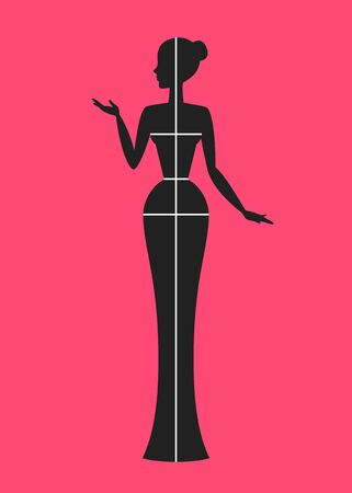 Stylized dark woman silhouette with drawn white lines of bust, waist, hips and height, over pink background. Choosing of clothing size in accordance with body measurements. Female shopping