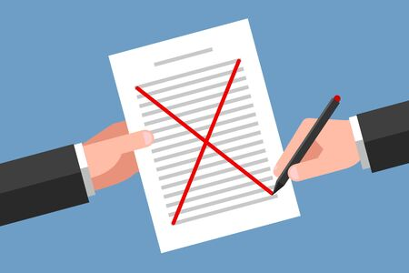 One hand is holding document, another hand is crossing out text content with red pen. Concept of document cancellation, agreement disapproval, request refusal, error correcting and proofreading
