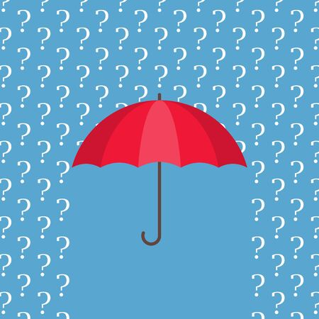 Red umbrella protecting from rain of white question marks. Concept of ignoring problems, confusion, indecision and uncertainty. Difficult questions and answers
