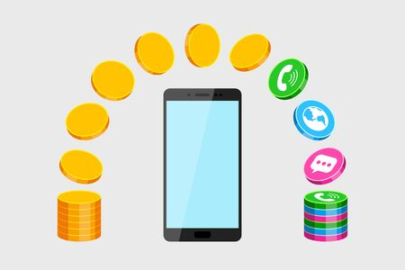 Modern mobile phone, stack of gold coins and icons of call, sms and network services. Concept of subscription fee and service payments, smartphone expenses