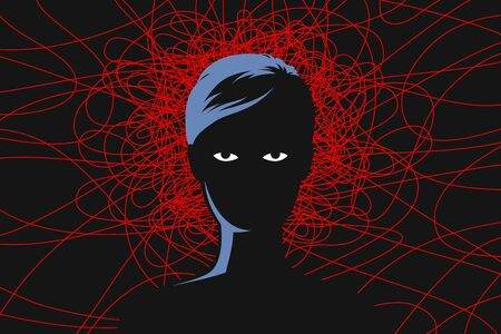 Woman with tired exhausted eyes, and red lines around head as symbol of obsessive depressive thoughts, anxiety disorder, chronic fatigue and nervous tension. Concept of mental health