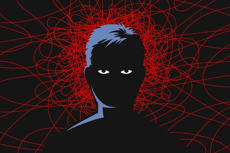 Man with tired exhausted eyes, and red lines around head as symbol of obsessive depressive thoughts, anxiety disorder, chronic fatigue and nervous tension. Concept of mental health Vettoriali