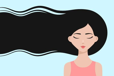 Cartoon asian girl with long hair, dreaming with eyes closed about hair care or trendy hairstyle. Healthy hair concept. Design for beauty or hairdressing salons and fashion industry, copy space