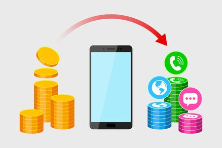 Modern mobile phone, stack of gold coins, icons of call, sms and network services and red arrow above. Concept of subscription fee and service payments, smartphone expenses