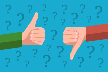 Two hands are showing thumb up and thumb down gestures on opposite sides. Concept of item or service review, cons and pros, user good and bad feedback, social media marketing Illustration