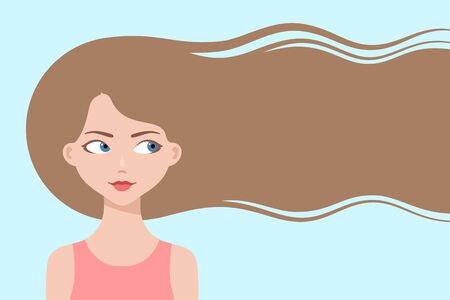 Happy cartoon girl with long flowing hair, smiling and thinking about hair care or trendy hairstyle. Healthy hair concept. Design for beauty or hairdressing salons and fashion industry, copy space 向量圖像