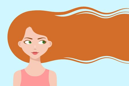 Happy cartoon girl with long ginger hair, smiling and thinking about hair care or trendy hairstyle. Healthy hair concept. Design for beauty or hairdressing salons and fashion industry, copy space