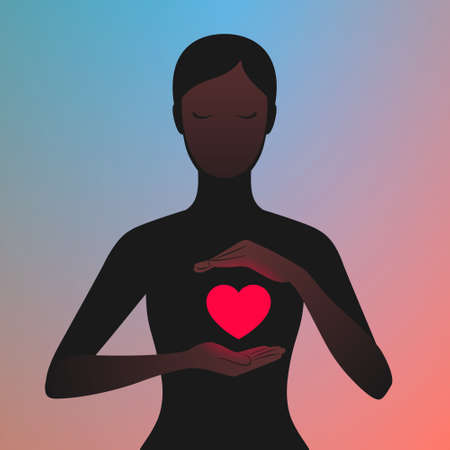 Dark silhouette of woman carefully holding hands near her glowing red heart. Woman in love. Concept of relationship and enamored person